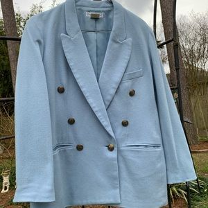 VTG Sky blue wool double breasted blazer